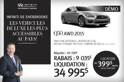 Q50 AWD 2015 démo en rabais de 9035$