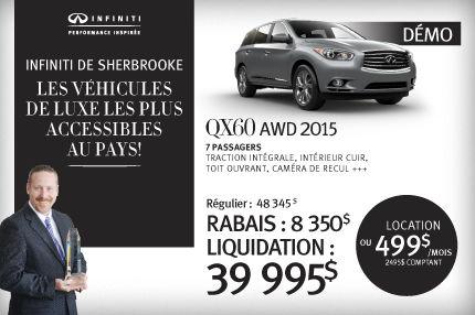QX60 AWD 2015 démo en rabais de 8350$
