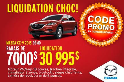 LIQUIDATION CHOC:  MAZDA CX-9 2015 démos