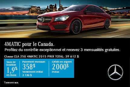4MATIC pour le Canada: CLA250