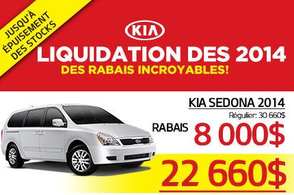Liquidation de la Kia Sedona 2014 à 22 660$