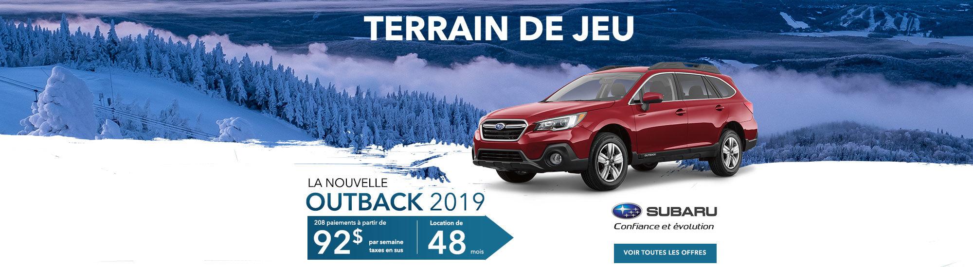 Subaru outback 2019 Terrain de jeu