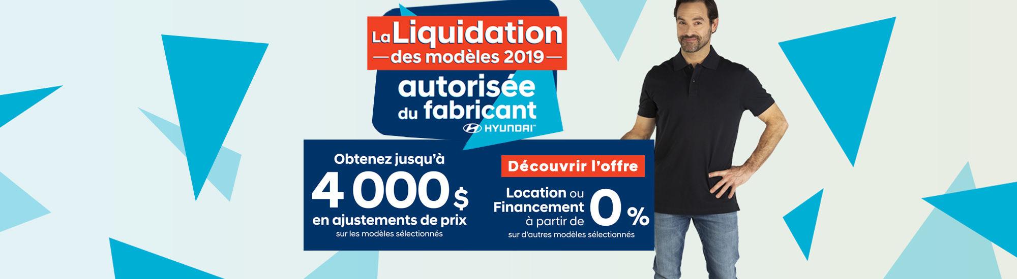 Liquidation des modèles 2019 Hyundai