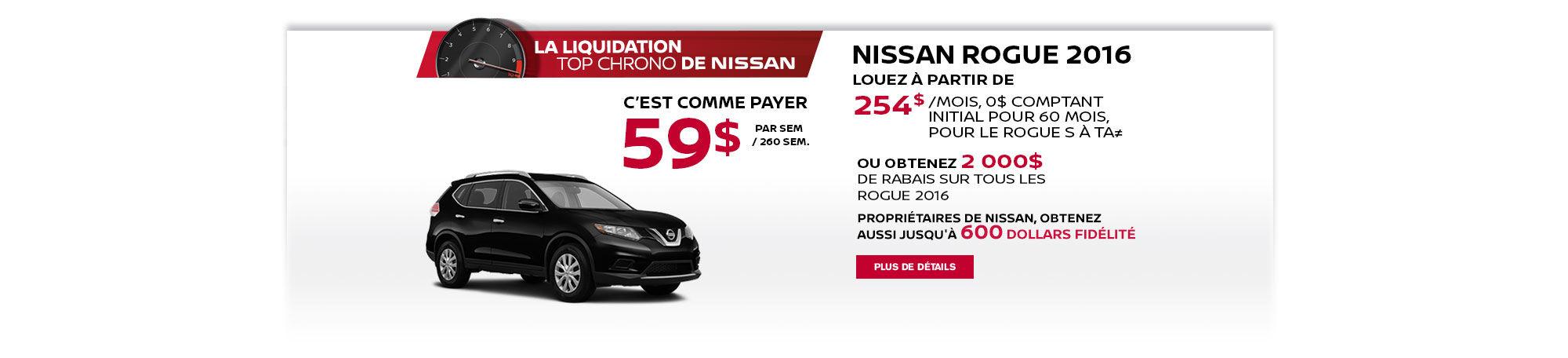 La liquidation top chrono de Nissan - Rogue