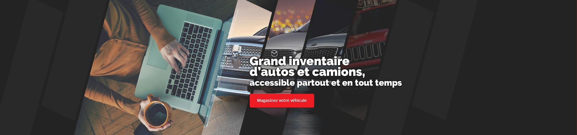 Grand inventaire d'autos et camions