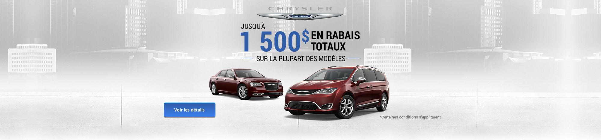 1 500$ en rabais totaux - Chrysler