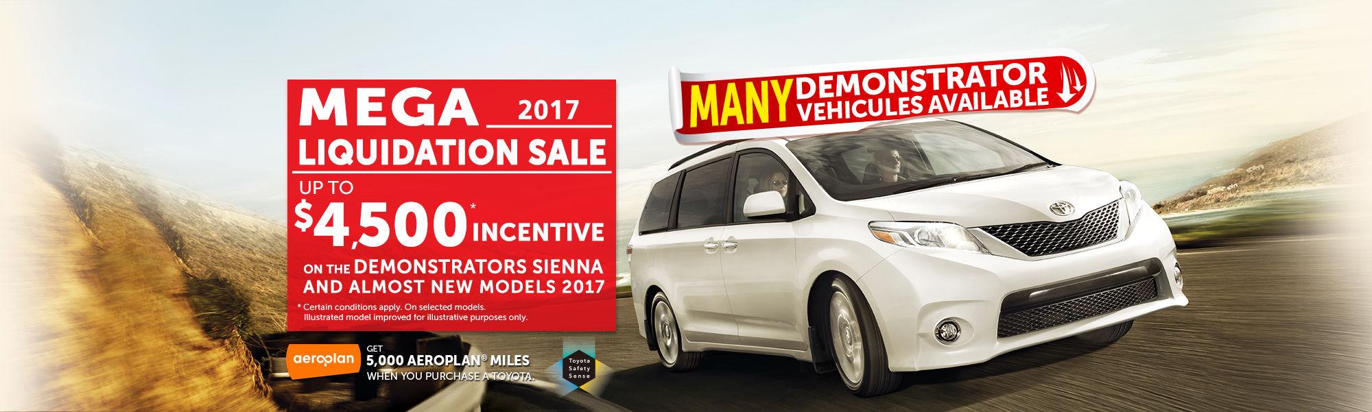 Mega Liquidation Sale - Sienna 2017