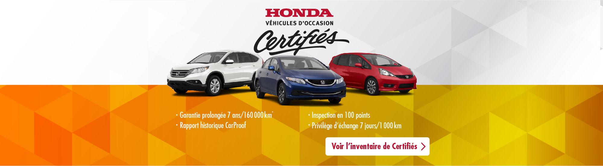 Inventaire Honda Certifiés