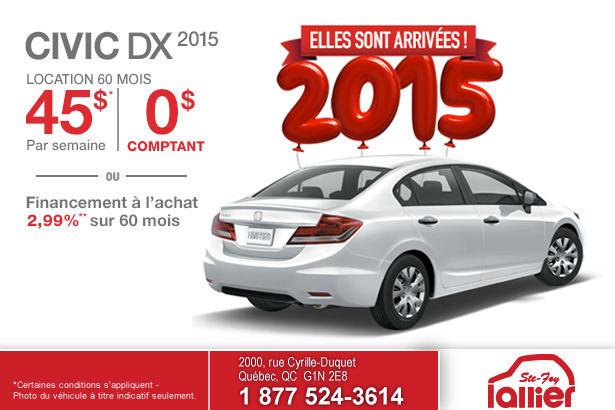 Louez votre Honda Civic DX 2015 à partir de 45$ par semaine