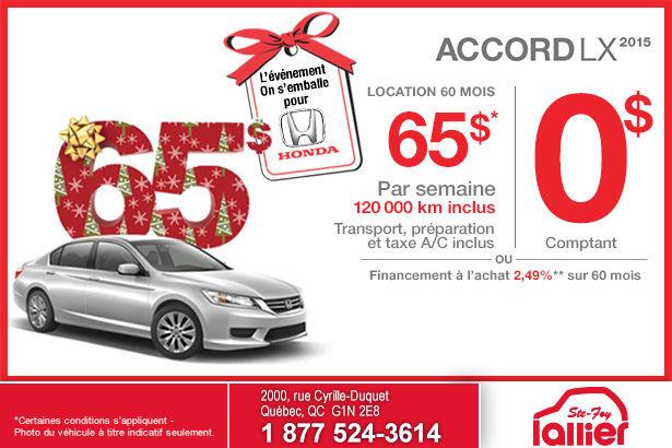 Louez la Honda Accord LX MT 2015 à compter de 65$ par semaine