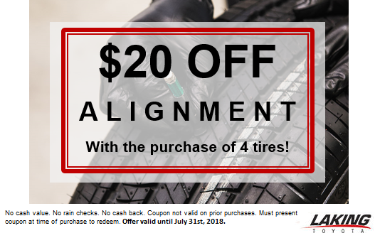 Save on alignment when you purchase 4 tires!