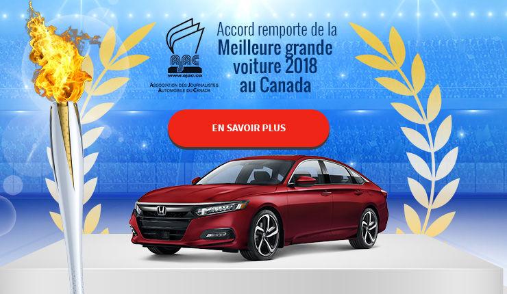 Accord remporte de la Meilleure grande  voiture 2018  au Canada