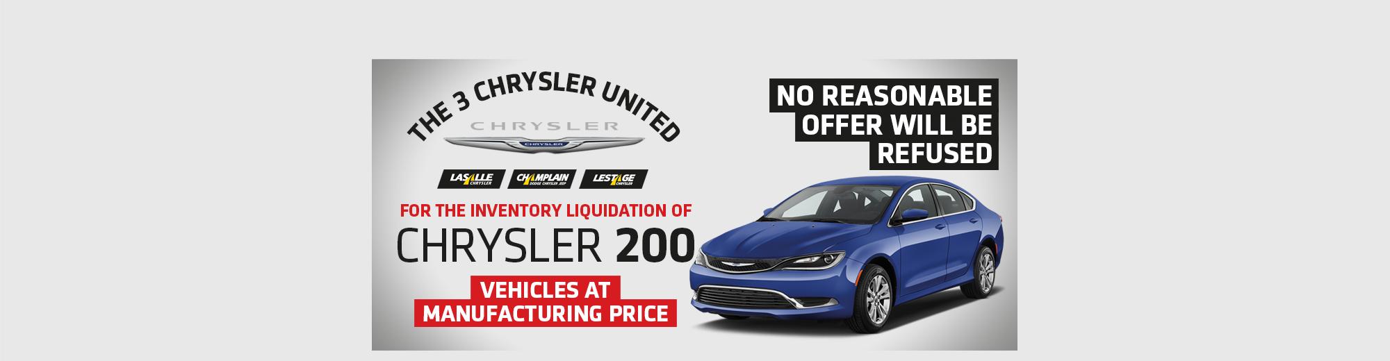 Inventory liquidation of Chrysler 200