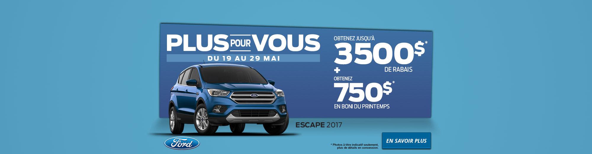 Escape 2017 - Membre de la famille de VUS La plus vendue au pays