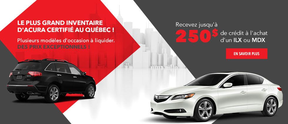 Le plus grand inventaire d'Acura certifié au Québec !