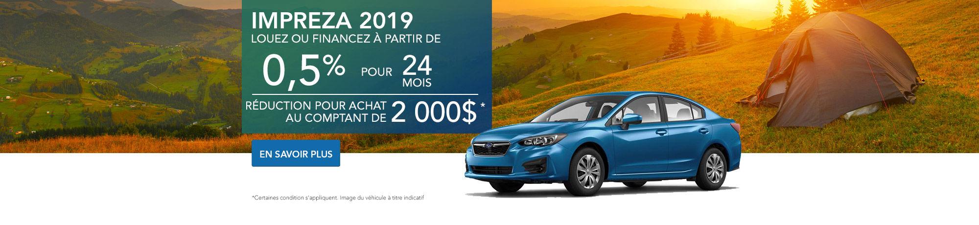 Procurez-vous la Impreza 4 portes 2019!