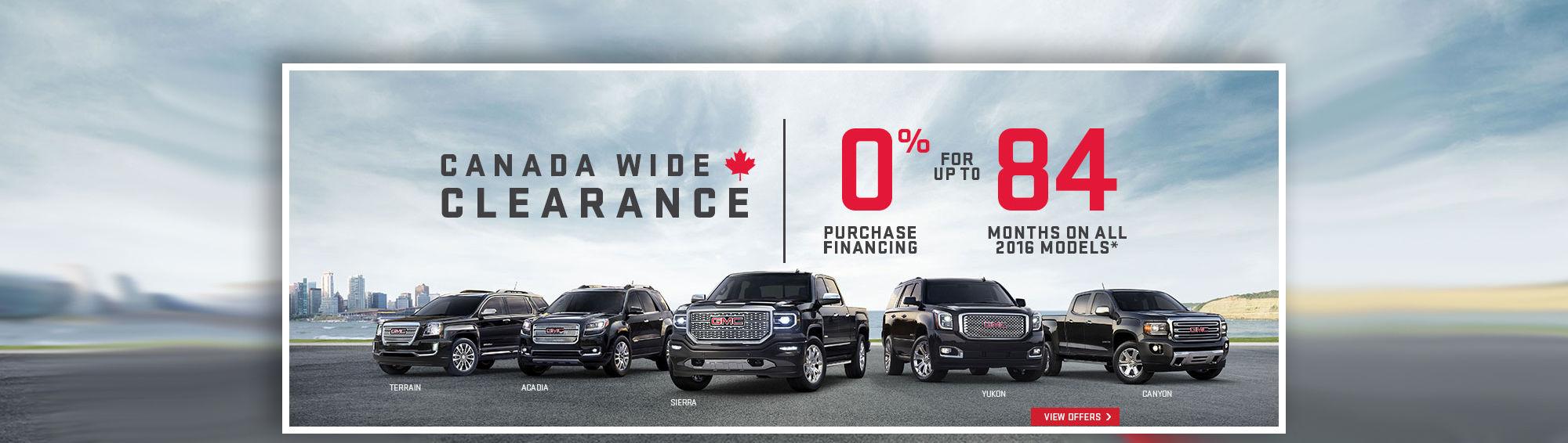 GMC 2016 Canada Wide Clearance