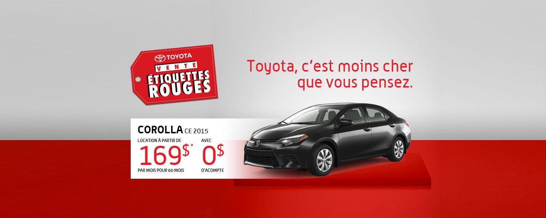 Toyota Corolla 2015 - Promotion Étiquettes rouges