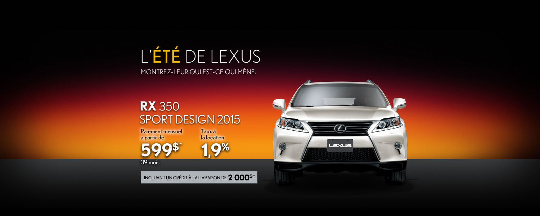 Louez le tout nouveau Lexus RX 350 Sport Design 2015 à partir 599$ par mois
