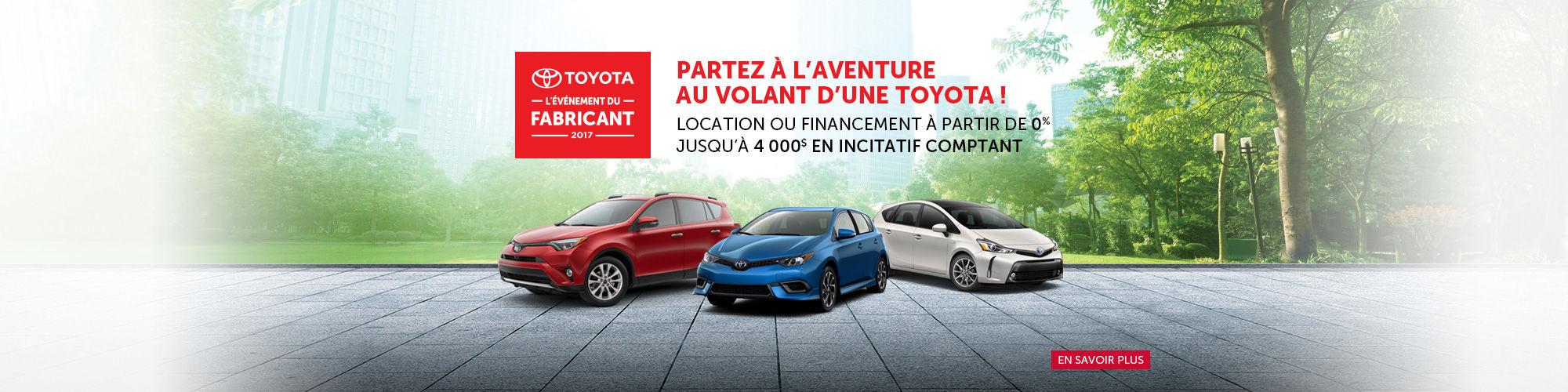 Profitez de L'Événement du Fabricant Toyota