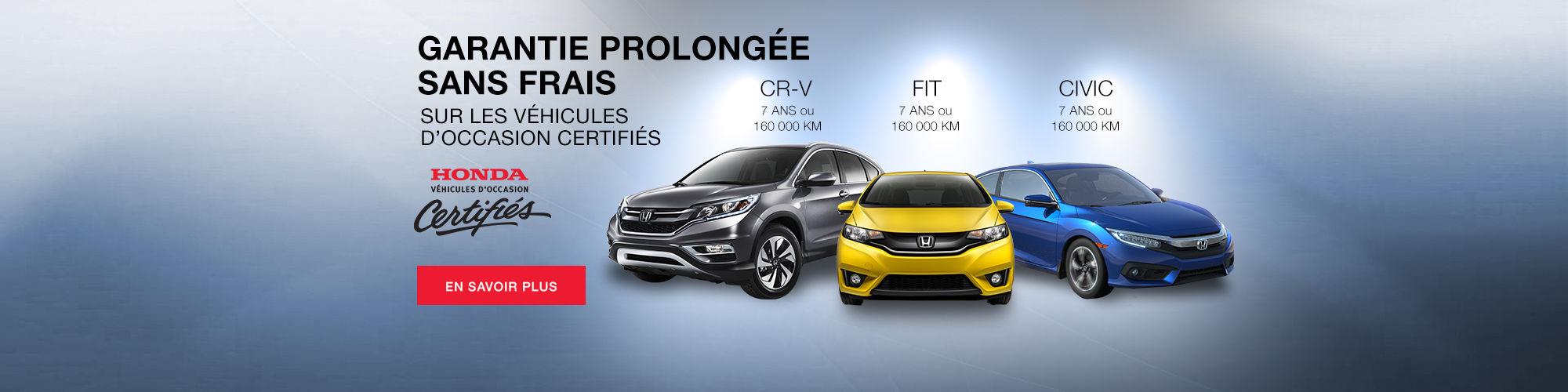 Honda - garantie prolongée