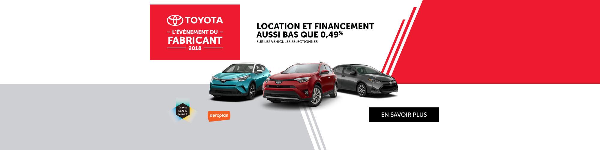 L'Événement du Fabricant Toyota 2018