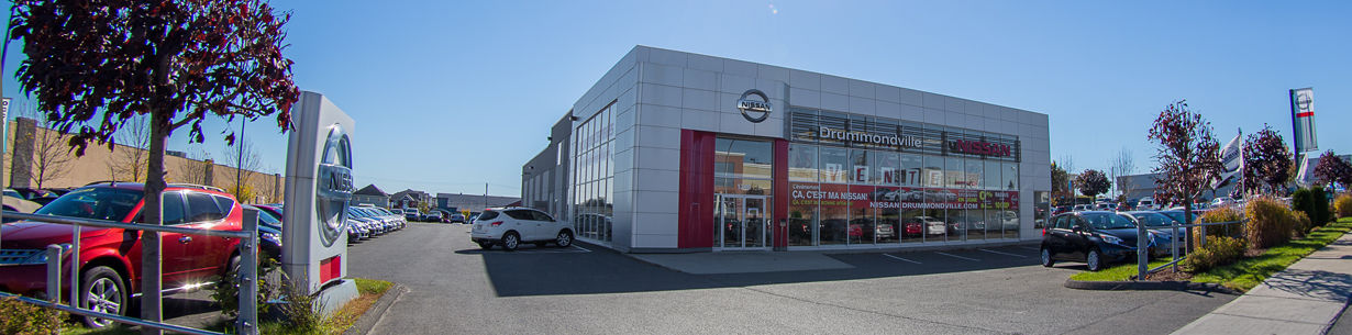 Photo du concessionnaire Nissan situé à Drummondville près de Trois-Rivières et Sorel-tracy.
