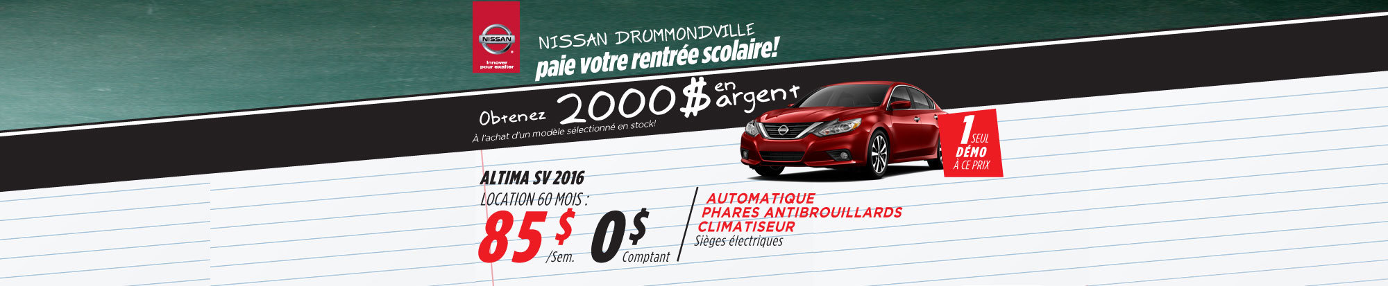 La liquidation top chrono de Nissan: Altima 2016 Drummondville