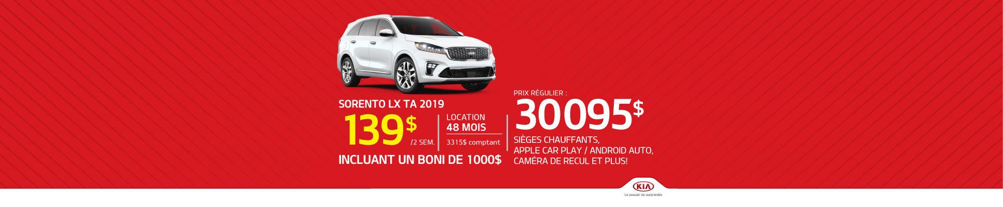 Sorento LX TA 2019 - Seulement 139$ aux deux semaines! (header)