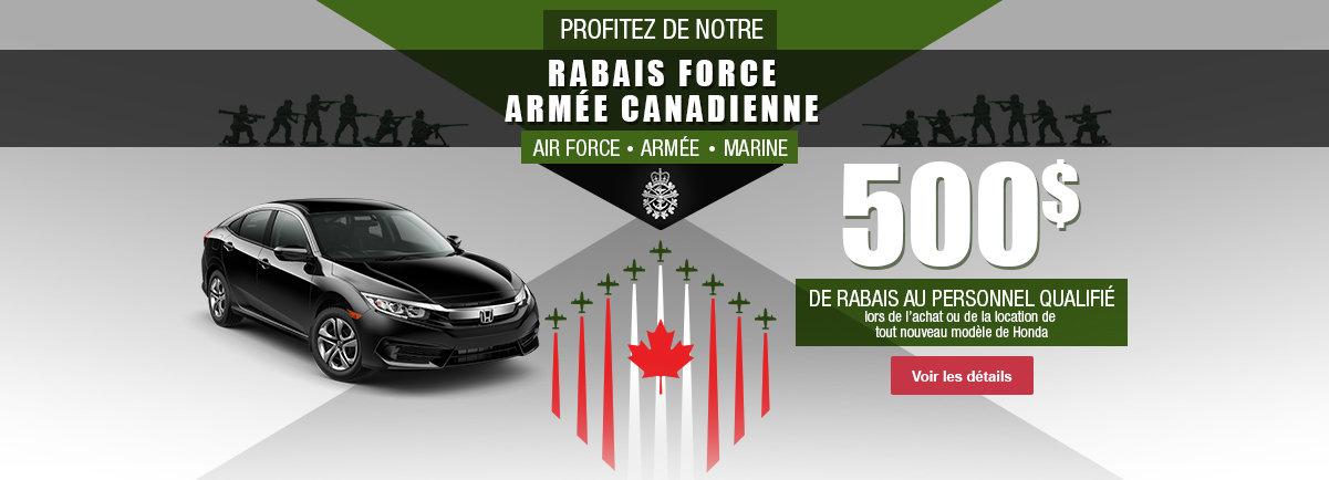 Rabais Force Armée Canadienne