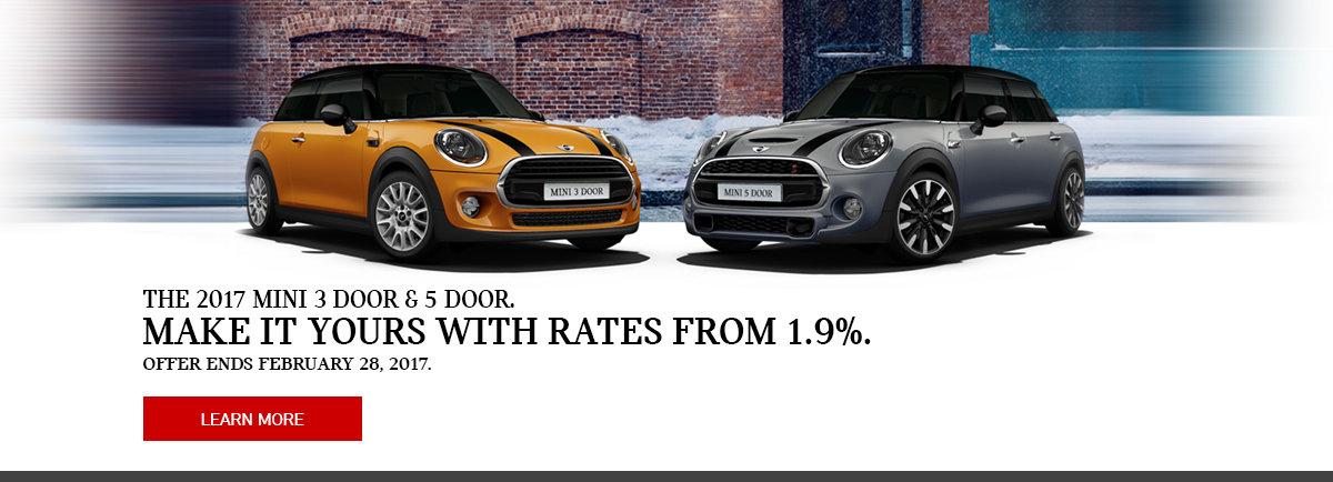 The 2017 Mini 3 door & 5 door with rates from 1.9%