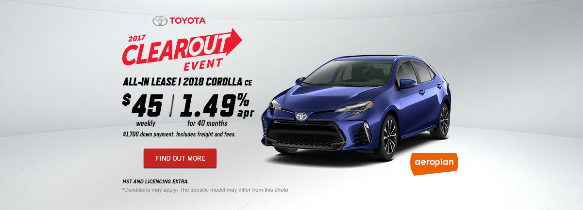 2017 Toyota Clearout Event - October - Corolla