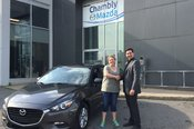 Félicitations Mme Julie Drouin pour votre nouvelle Mazda 3SE 2017