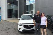 Félicitations Mme Poirier pour votre nouvelle Mazda CX3 2017.  Merci de votre confiance