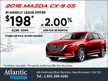 Save on a 2016 Mazda CX-9 GS Today!