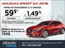 Mazda3 Sport GX 2016 en rabais!