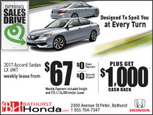 Lease the 2017 Accord from $67 Weekly