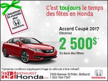 Obtenez 2 500$ en boni sur l'Honda Accord Coupé 2017!
