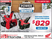 Snowblowers Starting From $829!