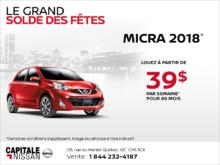 La Nissan Micra 2018 chez Capitale Nissan