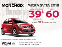 Louez la Nissan Micra 2018 dès aujourd'hui! chez Capitale Nissan