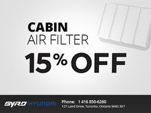 Get 15% Off Cabin Air Filters!