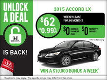 Unlock a Deal with a brand-new 2015 Honda Accord!
