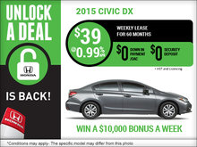 Lease the 2015 Honda Civic DX for $39!