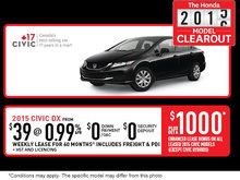 Honda 2015-2016 model clearout: 2015 Honda Civic
