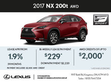 Lease the Brand-New 2017 Lexus NX 200t Today!