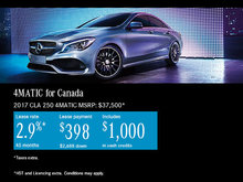 Save Big on the All-New 2017 CLA 4MATIC!
