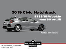 2019 Honda Civic Hatchback only $138 bi-weekly (plus tax) with no money down!