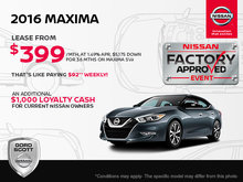 Get the 2016 Nissan Maxima Today!