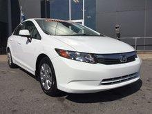 Honda Civic Sdn LX, BLUETOOTH, RÉGULATEUR DE VITESSE, MAGS, A/C 2012 JAMAIS ACCIDENTÉ